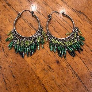 Green beaded gunmetal earrings